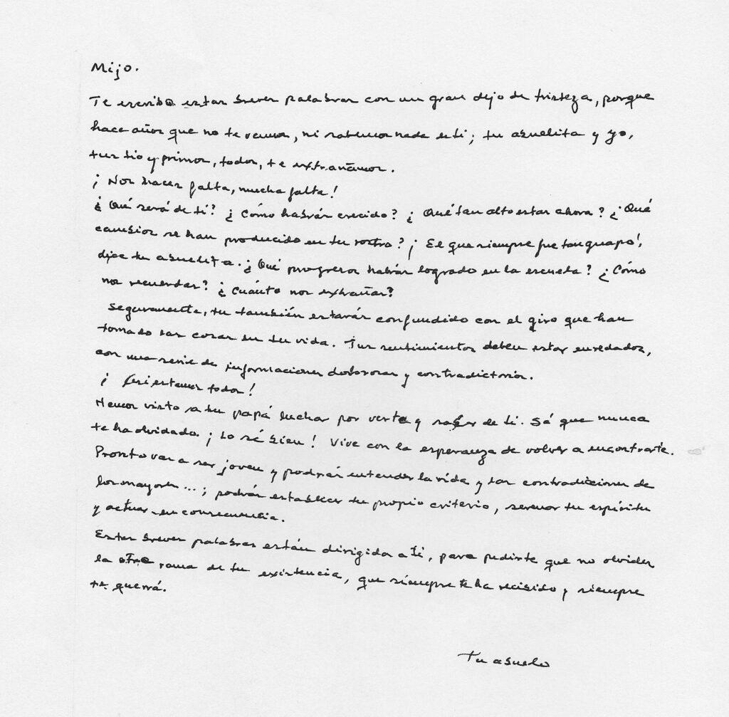 Carta manuscrita escrita por el abuelo de Nicolás Salomón Lesher